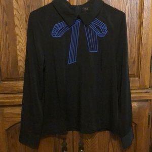 Black dress shirt with blue ribbon print- Size M-L